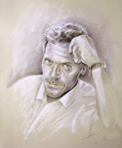 Hugh Laurie, par Miki - Crayon de coluer brun et craie blanche, 60 x 50 cm, 2009